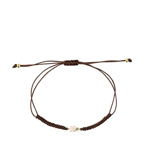 Pulsera de oro con ópalo, topacio y cordón marrón Mini Ivette