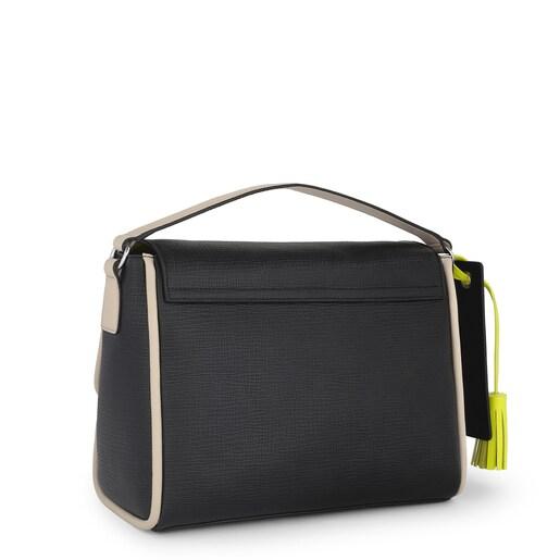Mittelgroße Leder-Umhängetasche Bridgy Luxe in Schwarz und Sandfarbe