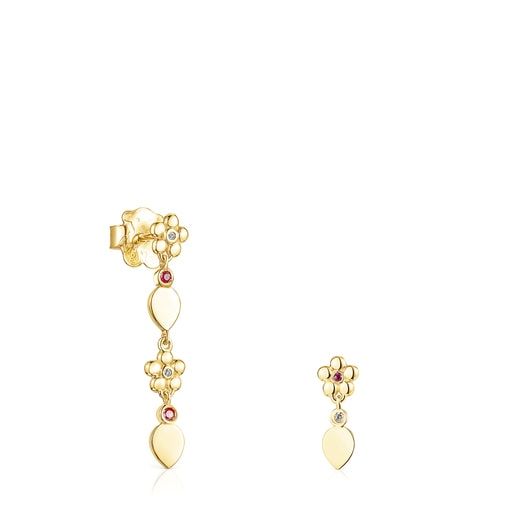 Short-long Gold Fragile Nature Earrings with Diamonds and Ruby