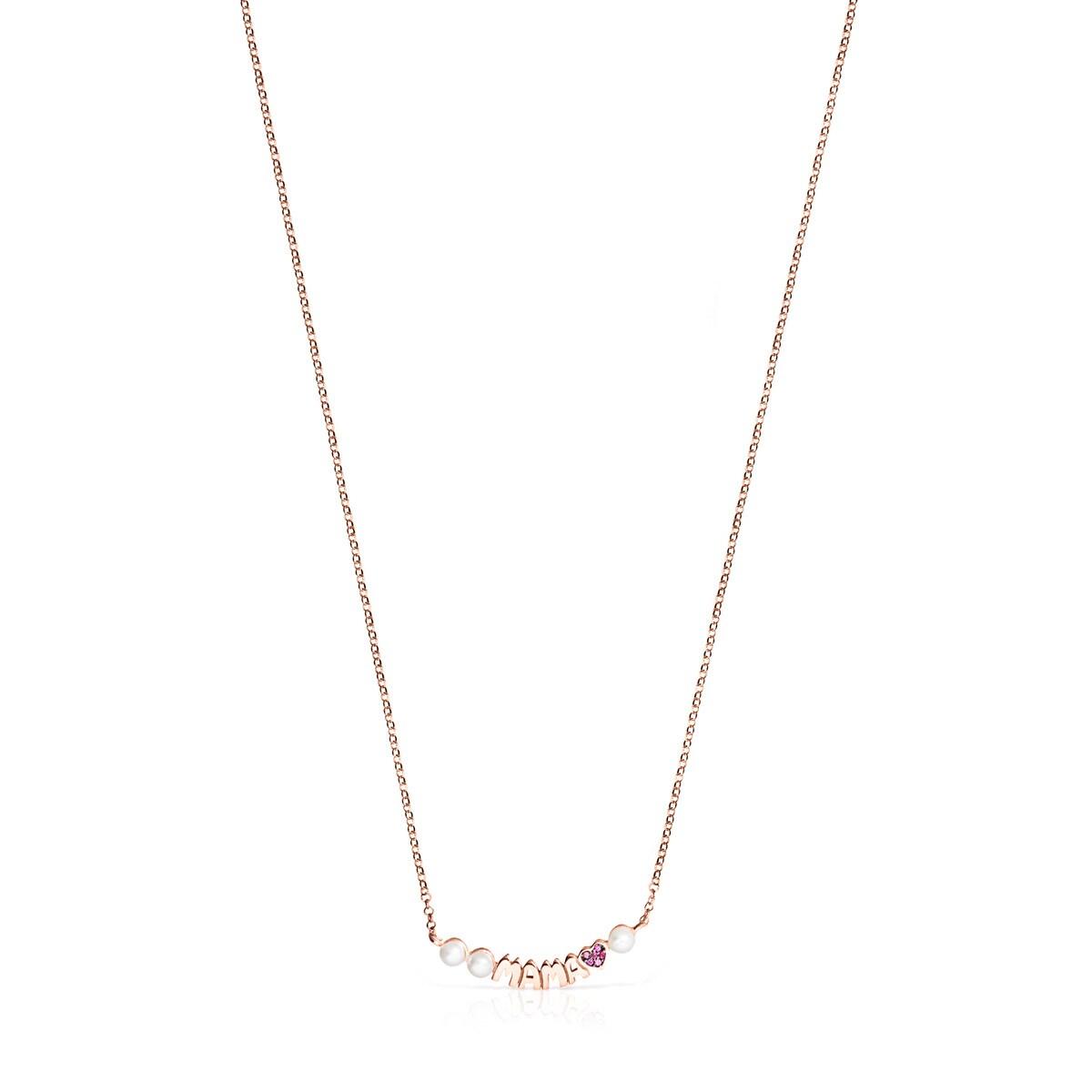 4eb6f0a4ee6e Collar TOUS Mama de Plata Vermeil rosa con Rubí y Perlas - Sitio web ...