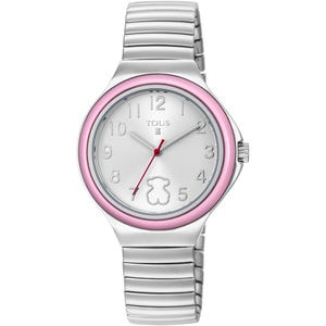Rellotge Easy d'acer amb bisell rosa