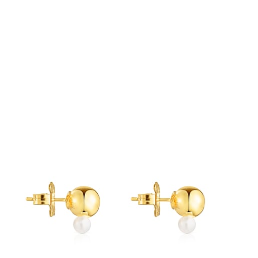 Silver Vermeil Gloss Earrings with small Pearl