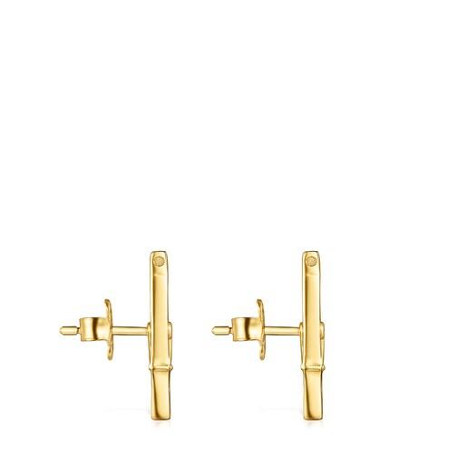 Σκουλαρίκια-μανταλάκι Job από Ασήμι Vermeil