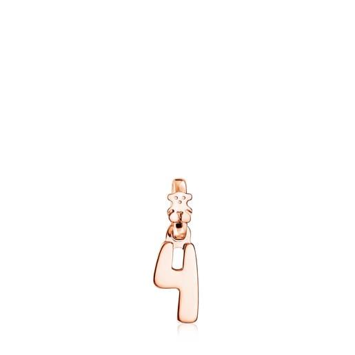 Colgante Numbers número 4 de Plata Vermeil rosa