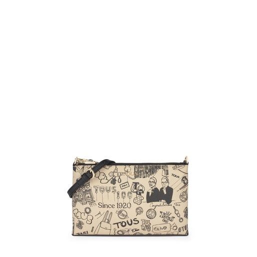 TOUS Centenary beige and black crossbody clutch