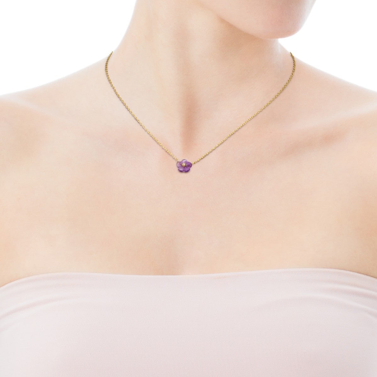 Vita Necklace in Gold with Amethyst and Diamond