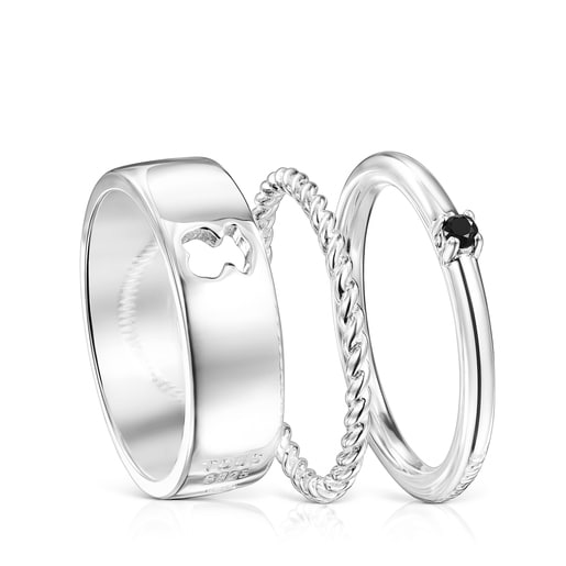 Silver and Spinel Ring Mix Rings set