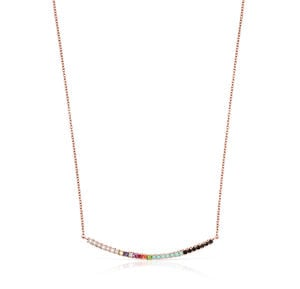 Rose Gold Vermeil Straight Necklace with Gemstones