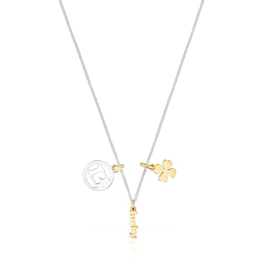 Silver and Silver Vermeil TOUS Good Vibes 13 – clover Necklace