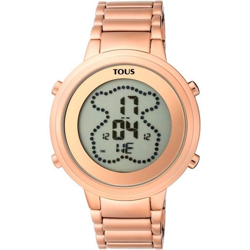 Reloj digital Digibear de acero IP rosado