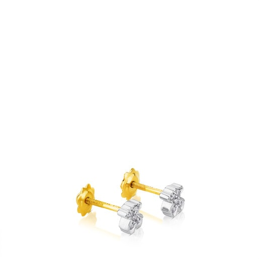 Pendientes Puppies Oso de Oro blanco y diamantes