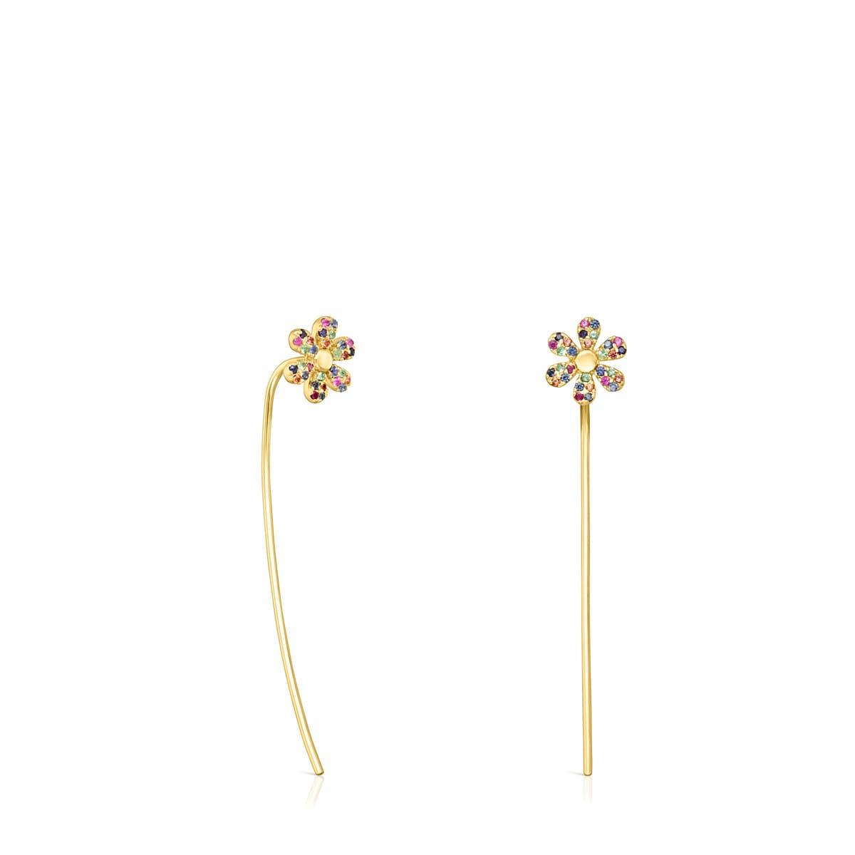 neue Fotos meistverkauft tolle Passform Lange Ohrringe Real Mix Bloom aus Vermeil-Gold mit Edelsteinen