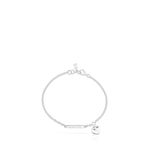 Silver Valentine's Day plate and heart Bracelet