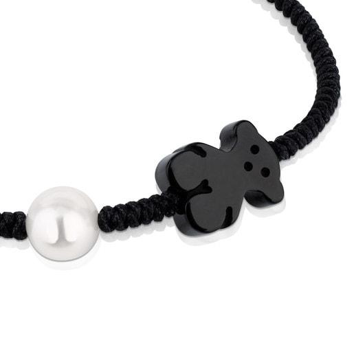 Pulsera Tibet de Cordón en color negro con Ónix y Perla