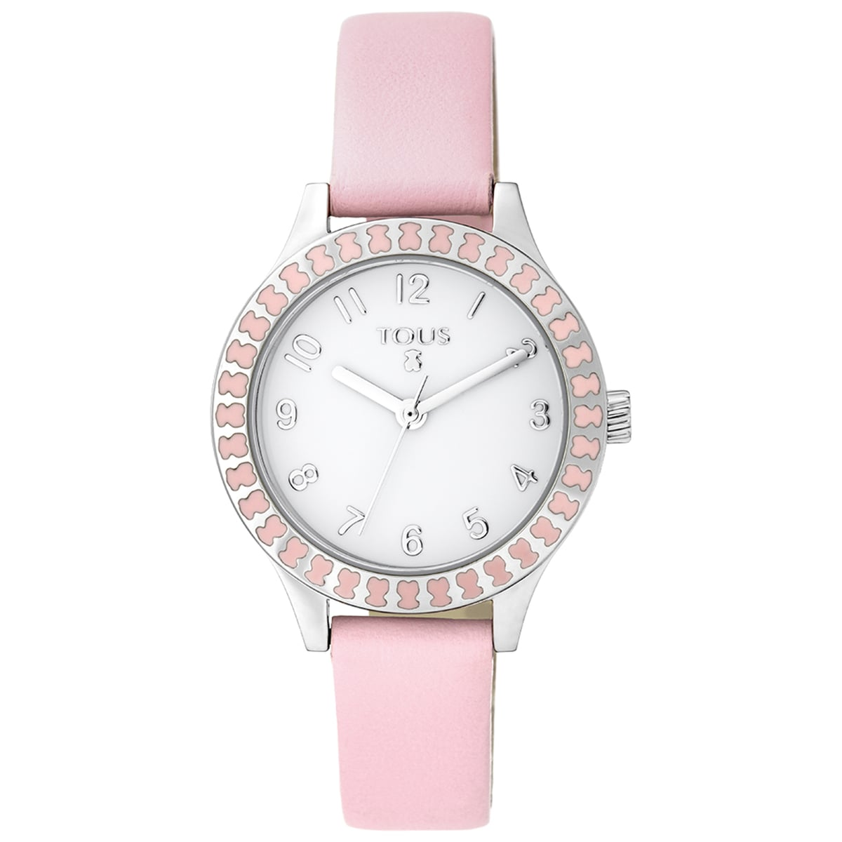 Relógio Straight Kids em aço e bisel de ursos com correia em pele rosa