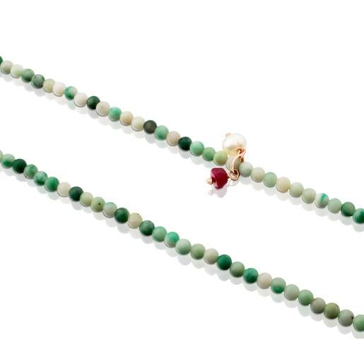 Collar Camille de Plata Vermeil rosa y Roca verde con Rubí y Perla