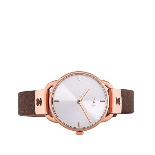 Ρολόι Let Leather από Ατσάλι με επιμετάλλωση σε ροζ χρώμα με καφέ Δερμάτινο λουράκι