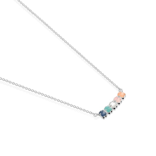 Κολιέ Mini Color από Ασήμι με Πολύτιμους λίθους