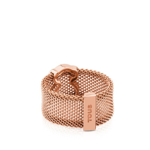 Rose IP Steel and Rose Vermeil Silver TOUS Icon Mesh Ring