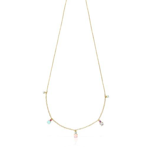 Halskette Mini Ivette aus Gold mit Edelsteinen