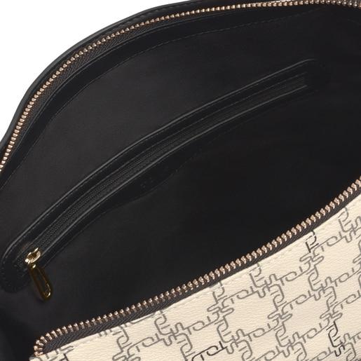 Μπεζ-μαύρη τσάντα Ώμου TOUS Logogram
