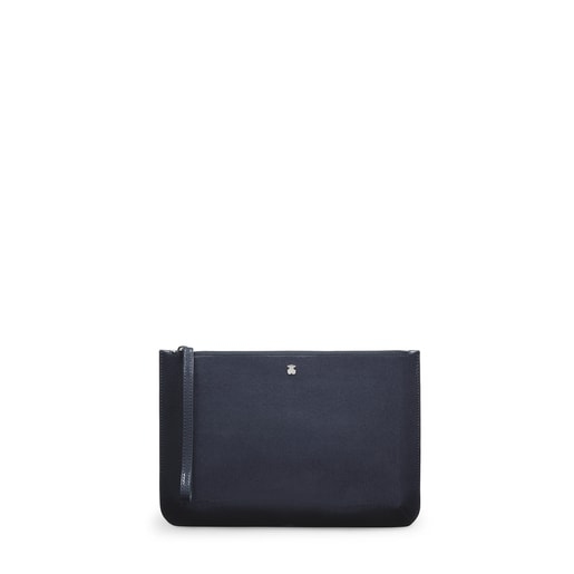 Navy Blue Vinyl Dorp Clutch-Wallet