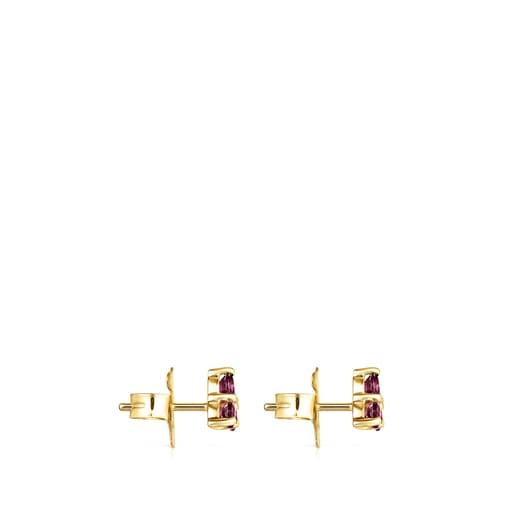 Gold Luz Earrings with Rhodolite