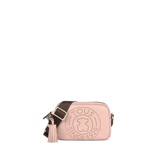 Small pale pink Leather Leissa Crossbody bag