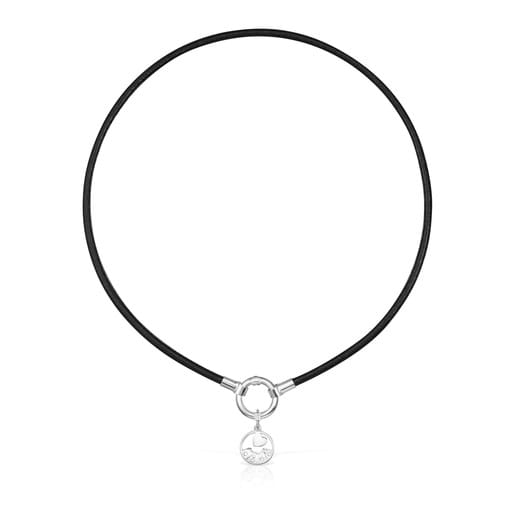 TOUS Mama Necklace in Silver and black Leather