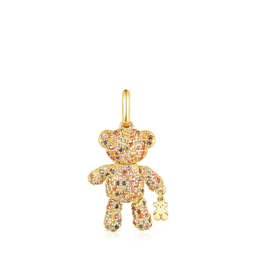 Silver Vermeil Teddy Bear Gems Pendant with Sapphires