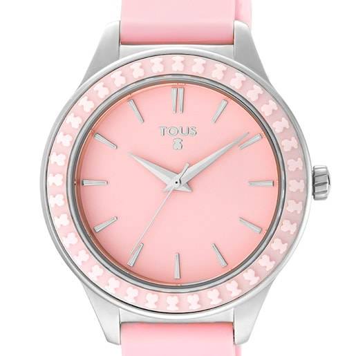 Montre Straight Ceramic en acier avec lunette en céramique et bracelet en silicone rose