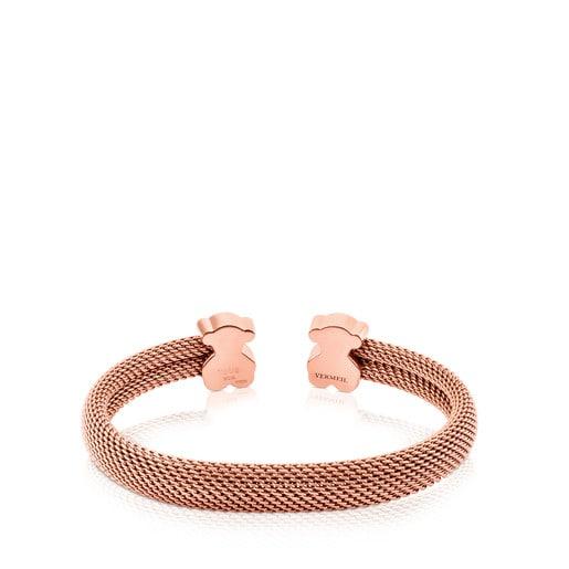 Armband Mesh aus rosa IP-Stahl und rosa Vermeil-Silber.