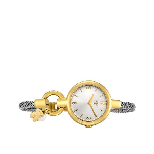 Reloj Hold Charms de acero IP dorado con correa de acero