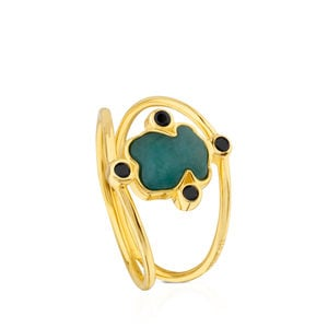 Vermeil Silver Color Power Ring with Amazonite and Spinels