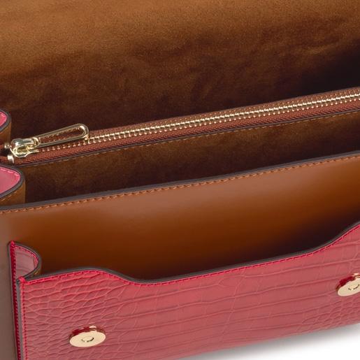 Bandolera mediana Audree marrón y rosa