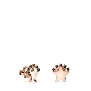 Rose Gold Vermeil Real Sisy star Earrings with Spinels