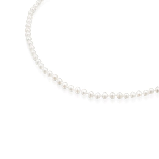 Silver TOUS Hold Necklace with Pearls. 42cm.