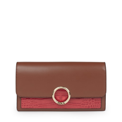 Medium brown and pink Audree wallet