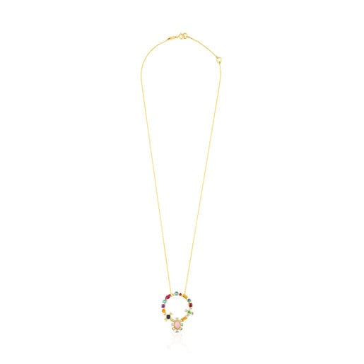 Gold Mini Teatime Necklace with Gemstones
