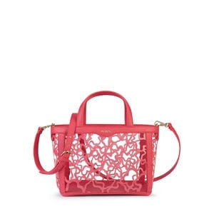 Small coral colored Vinyl Kaos Shock Tote bag
