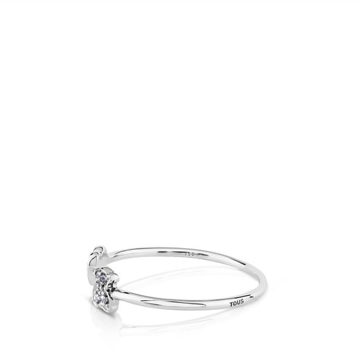 White Gold TOUS Puppies Ring with Diamonds Bear and Heart motifs