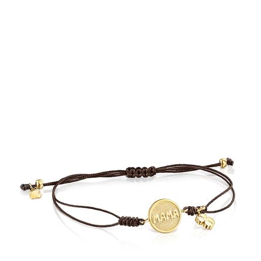 Pulsera TOUS Good Vibes Mama de oro, diamantes y cordón marrón