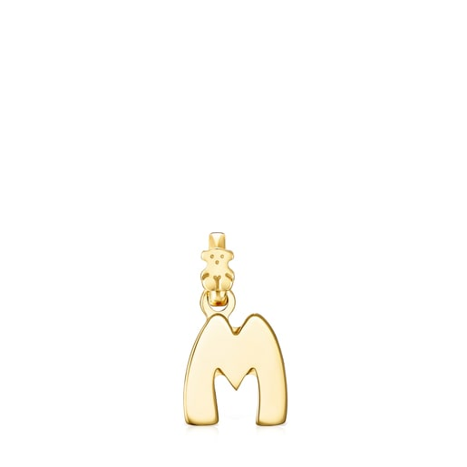 Alphabet letter M Pendant in Silver Vermeil
