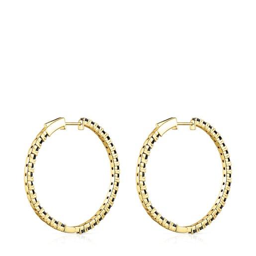 Silver Vermeil Glaring Hoop earrings with Onyx