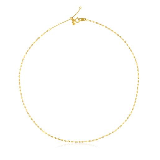 Enge Halskette TOUS Chain aus Gold, 45cm lang mit Ringen und Kugeln.