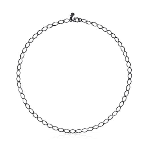 Collier ras du cou TOUS Chain losange en Argent Dark Silver