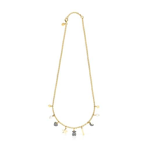 Collar motivos de plata vermeil, diamantes y perlas Nocturne