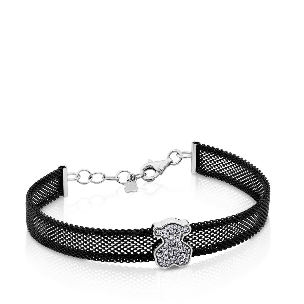 826f8881f76c Pulsera Icon Mesh de Acero y Oro blanco con Diamantes - Tous Site MX