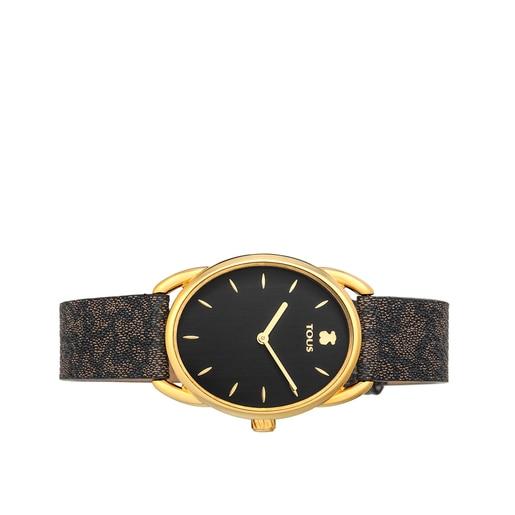 Reloj Dai de acero IP dorado con correa de piel Kaos negra
