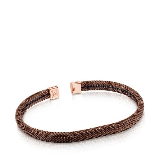 Pulsera de acero IP marrón y rosa TOUS Man